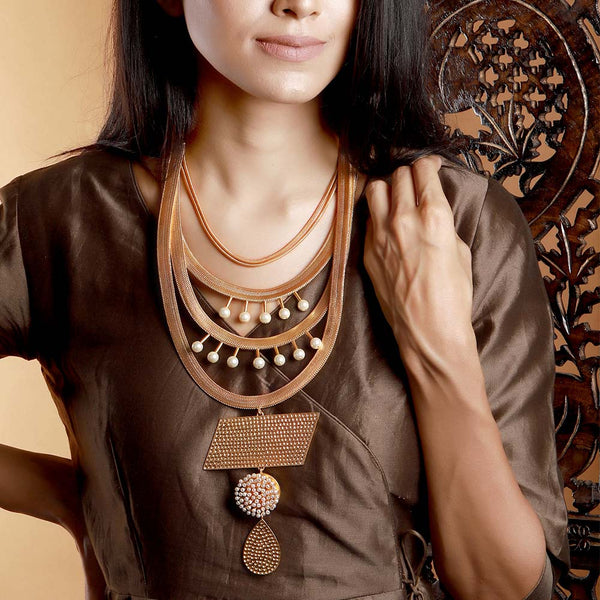 Pearl Cluster Layered Tribal Necklace