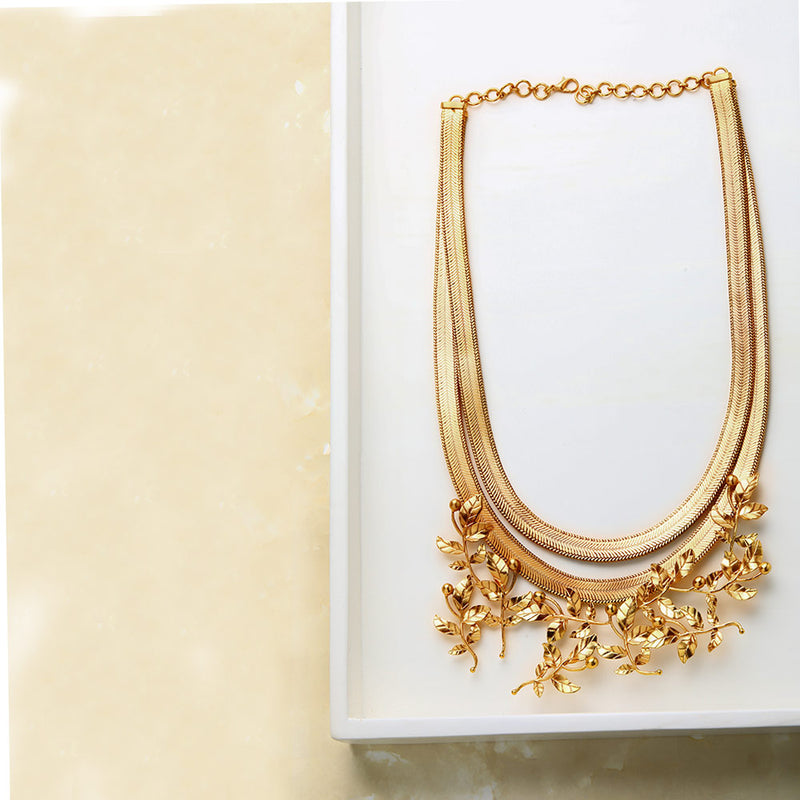 Gold Double Flat Chain Necklace with Rose Vine Pendant
