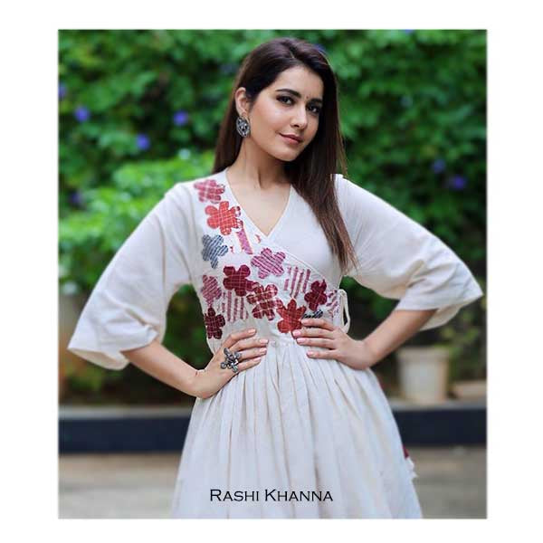 Oxidised Silver Square Ring with Coins & Kundan Details Worn by Rashi Khanna