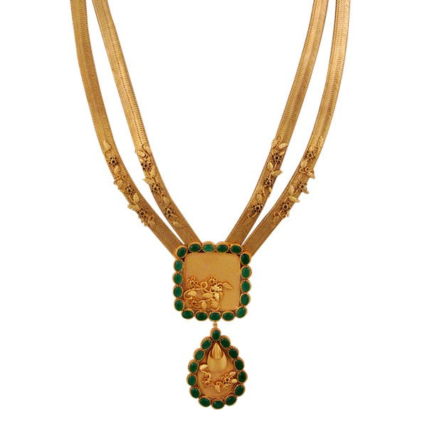 gold-flat-chain-necklace-with-tear-drop-and-green-crystals