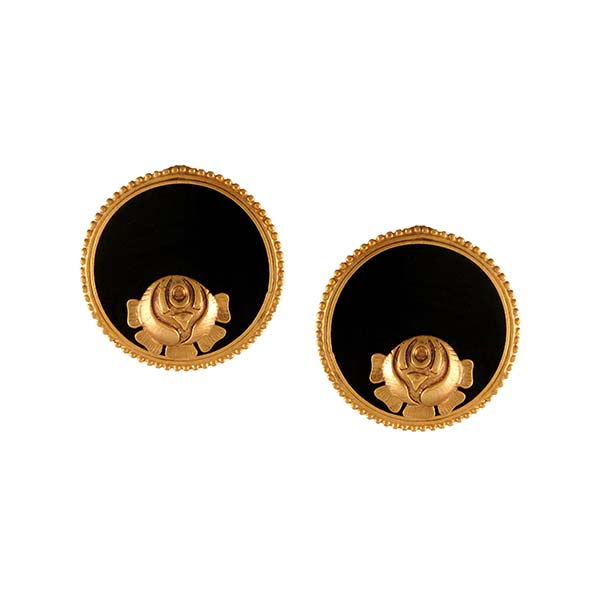 Gold Round Earring with Roses Worn by Sonam Kapoor