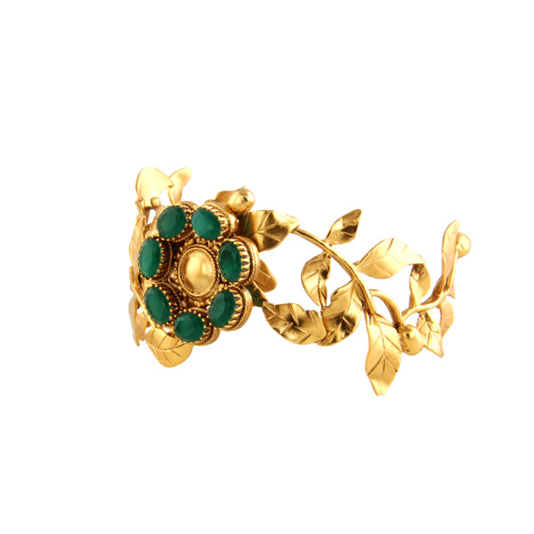 gold-rose-vine-cuff-with-green-crystals-worn-by-priyamani