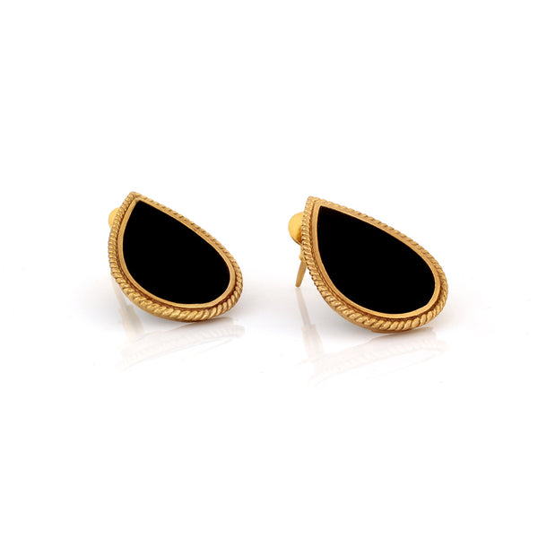 GOLD TONED AND BLACK PETAL STUD EARRINGS