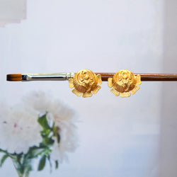 GOLD TONED ROSE STUD EARRINGS