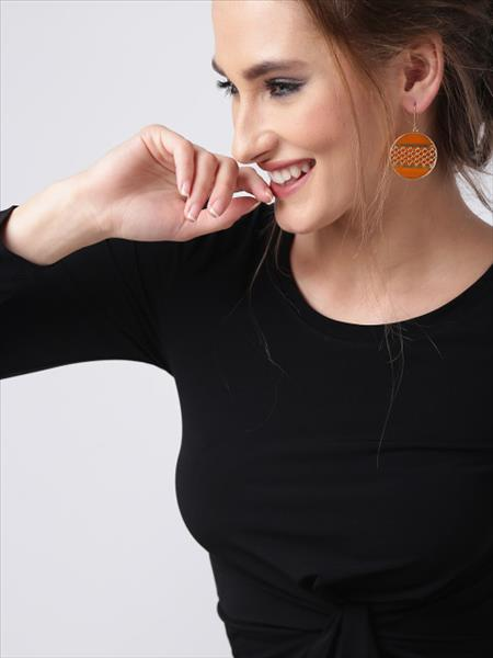 Gold & Amber Circle Khancha Drop Earrings