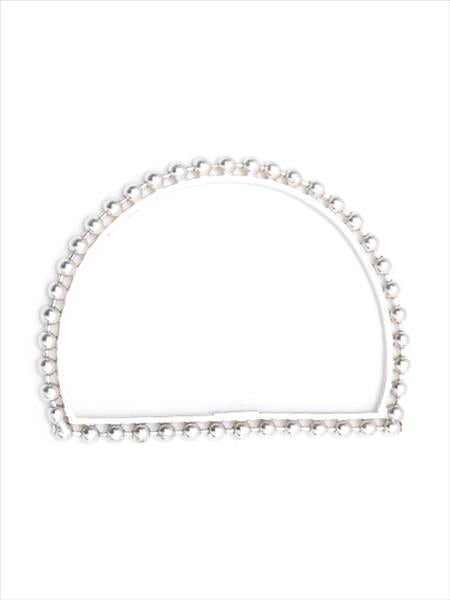 Silver Toned Ball Bead Drop-Shaped Bangle
