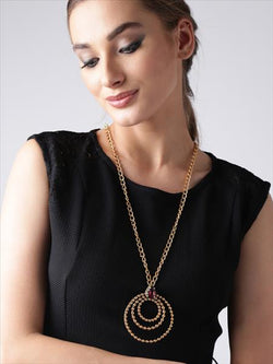 Gold Toned Link Chain Necklace with Circular Crystal Pendant