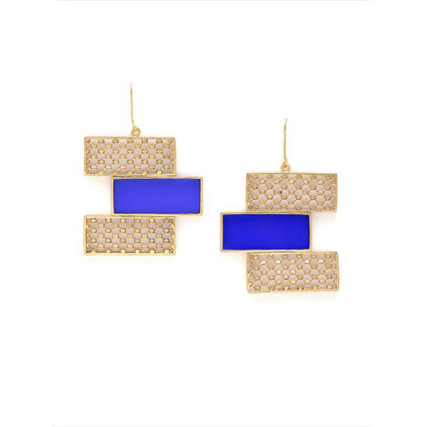 Gold & Blue Triple Rectangle Drop Earrings