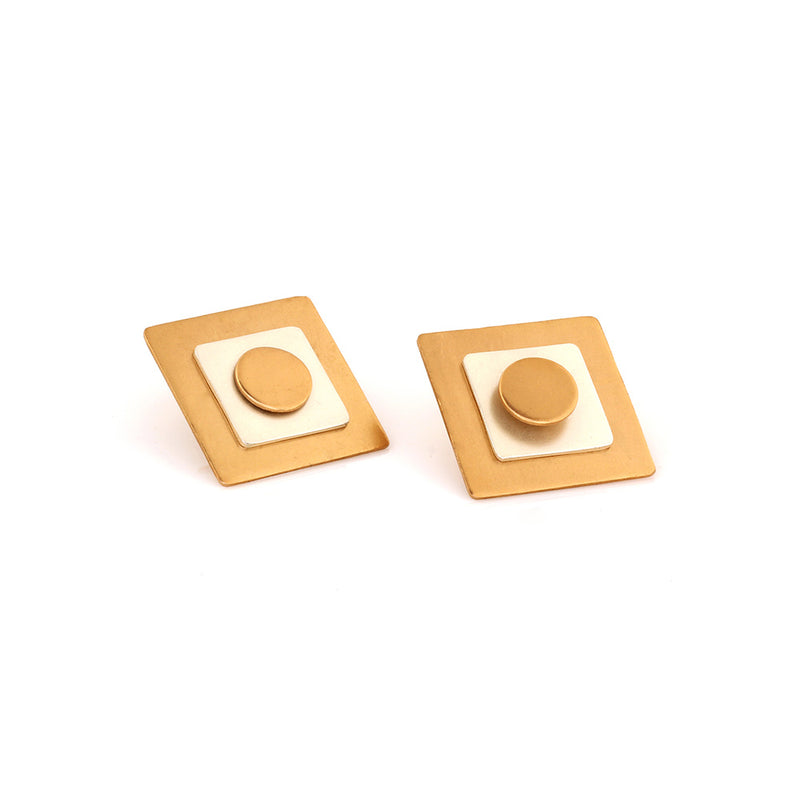GOLD AND SILVER TONED DOUBLE SQUARE STUD EARRINGS