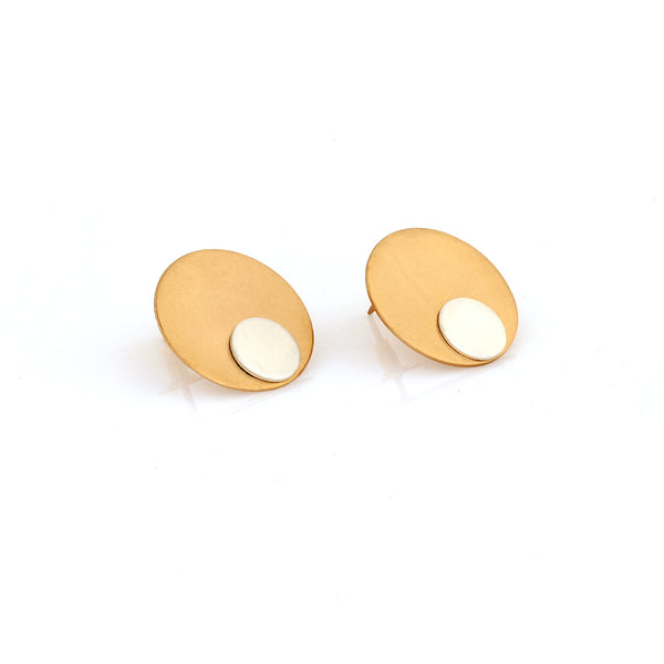 GOLD AND SILVER TONED CIRCULAR STUD EARRINGS