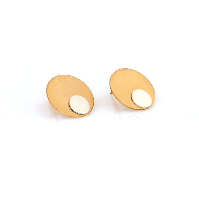 gold-&-silver-toned-circular-stud-earrings