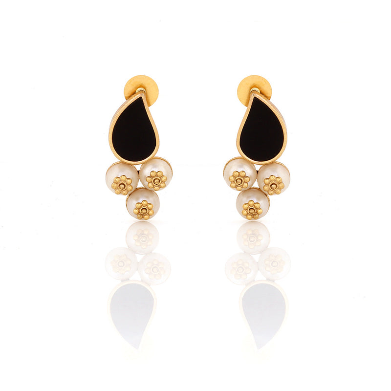 GOLD TONED AND BLACK PETAL STUD EARRINGS WITH PEARL DROPS