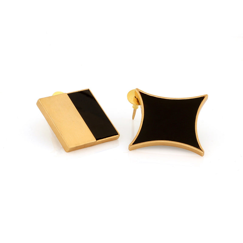 GOLD TONED AND BLACK STAR SQUARE MISMATCHED STUD EARRINGS