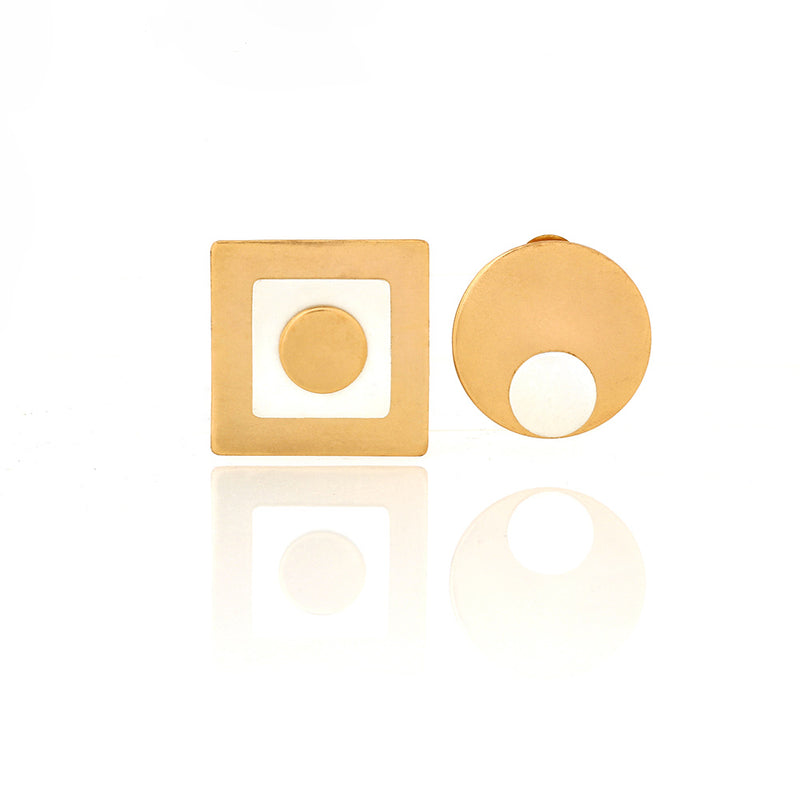 GOLD AND SILVER TONED MISMATCHED GEOMETRIC STUD EARRINGS