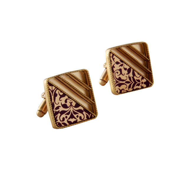 Gold Stripe & Printed Square Cuff Links