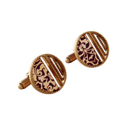 gold-stripe-&-printed-round-cuff-links