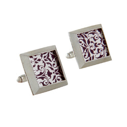 Silver Square Printed Cuff Links