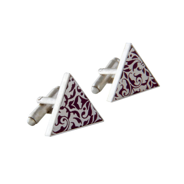 Silver Triangle Printed Cuff Links