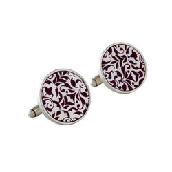 Silver Round Printed Cuff Links