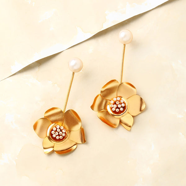 Gold Buttercup Pendulum Earrings with Pearls