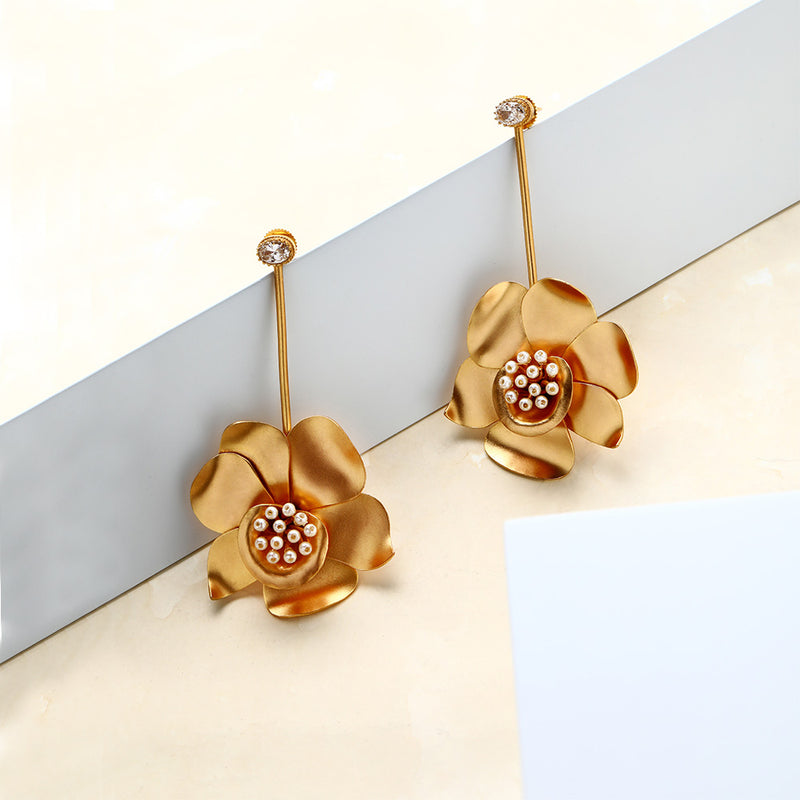 Gold Buttercup Pendulum Earrings with Crystals Worn By Rukshar Dhillon