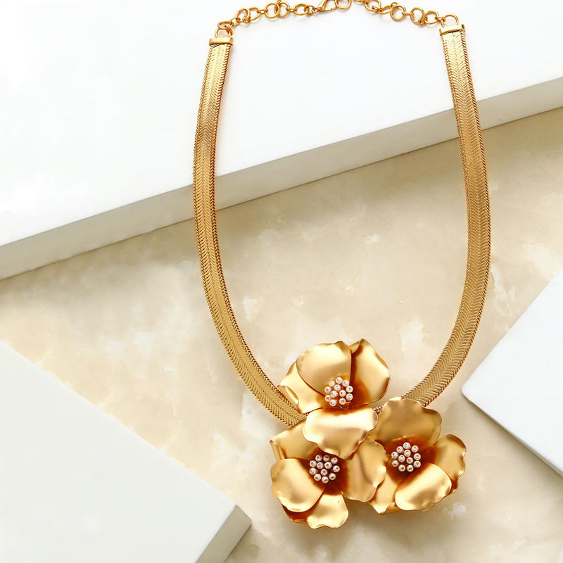 Gold Triple Gardenia Long Necklace