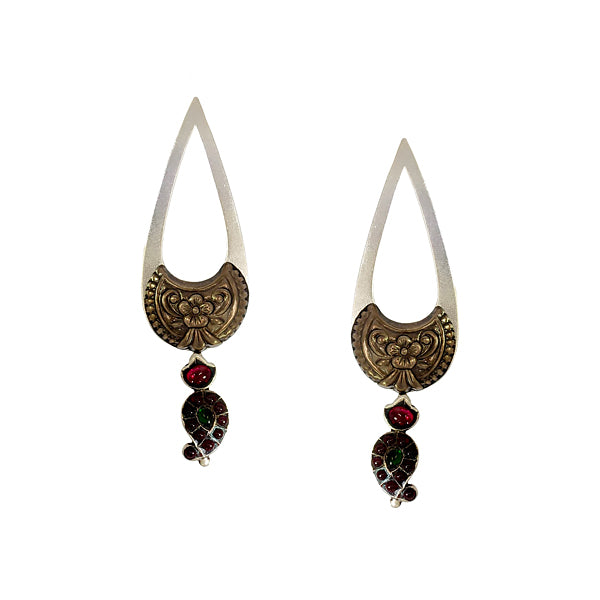 Sterling Silver Drop Earrings with Paisley Motifs