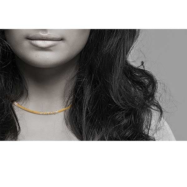 Yellow Cord & Silver Spiral Collar Necklace