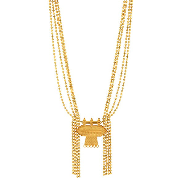 Gold Toned Long Four-Strand Bead Chain Necklace with Geometrical Pendant