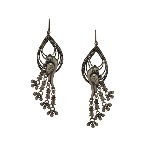 Oxidised 92.5 Silver Parrot Drop Earrings