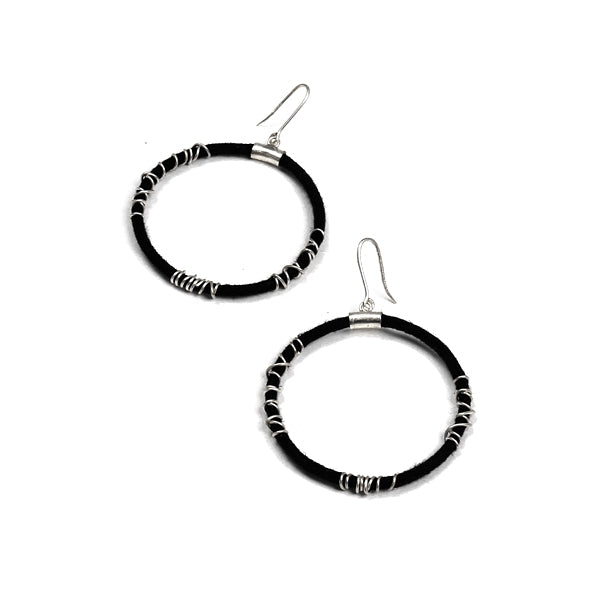 black-cord-&-silver-spiral-bali-earrings