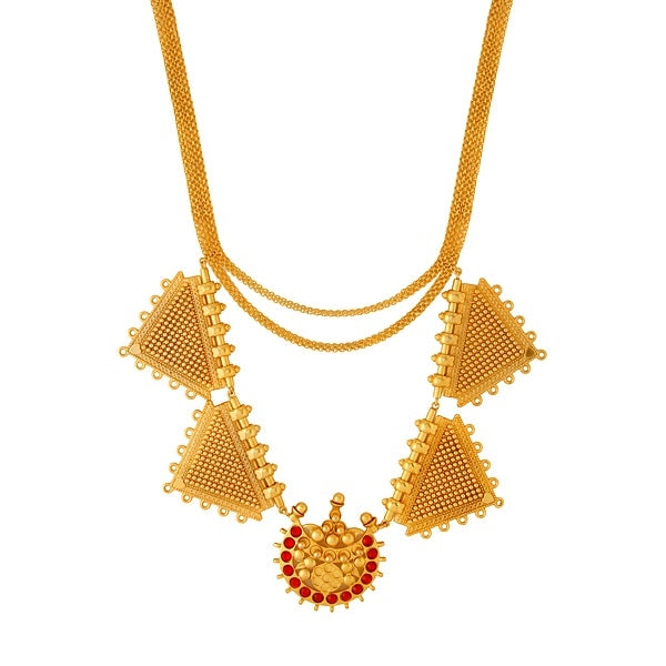 Gold Toned Necklace with Chandra & Triangle Pendants