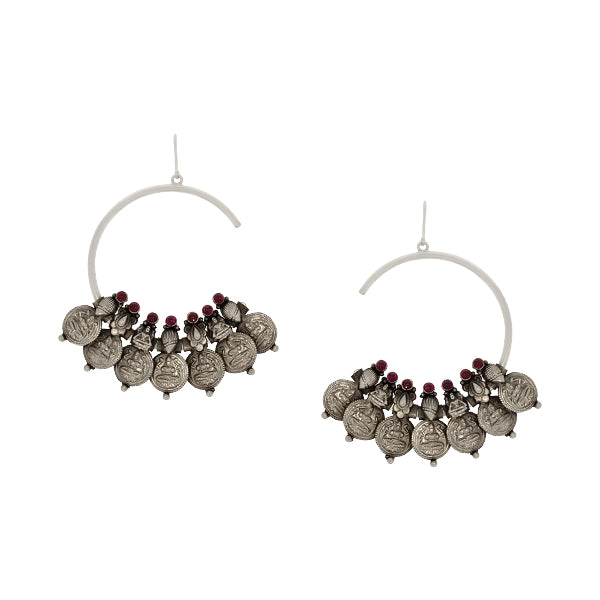 Oxidised Silver Coin Half Bali Earrings with Red Crystals Worn By Shilpa Shetty