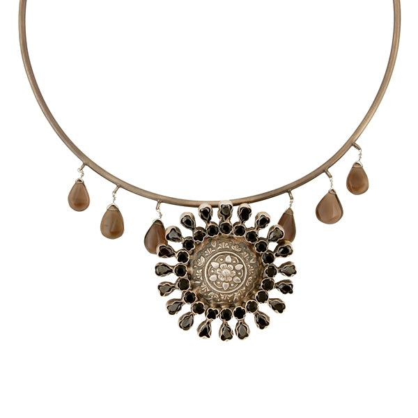 Oxidised Silver Collar Necklace with Floral Crystal Pendant