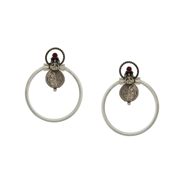 Oxidised Silver Coin Bali Earrings with Crystals Worn By Kajol