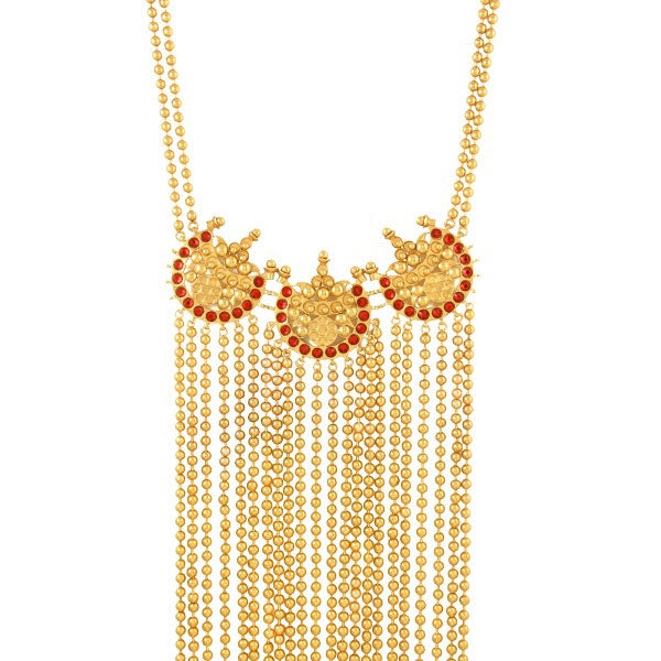 gold-chandra-bead-chain-necklace-with-bead-tassels-&-red-crystals