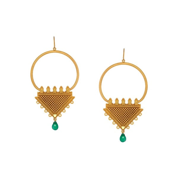 Gold Triangular Hoop Earrings with Green Crystals