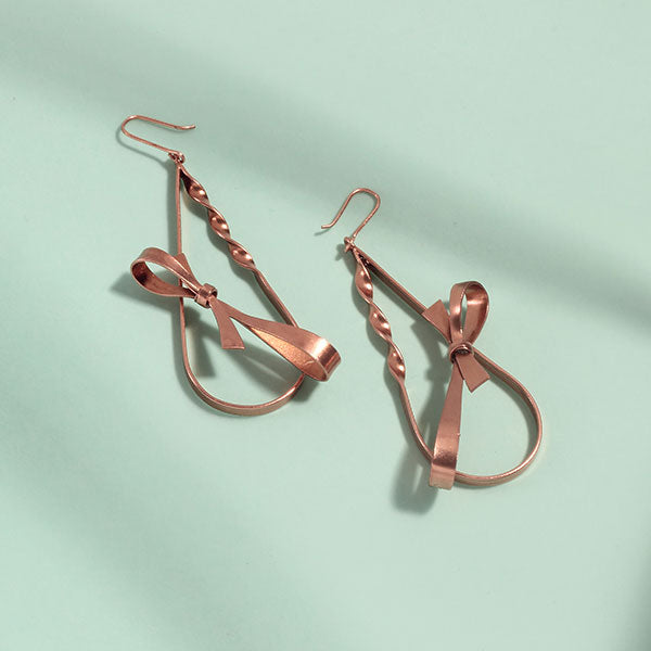 Rose-Gold Toned Twisted Bar Earrings with Bows