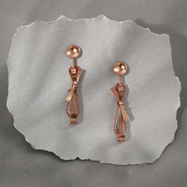 Rose-Gold Toned Disc Earrings with Textured Bows