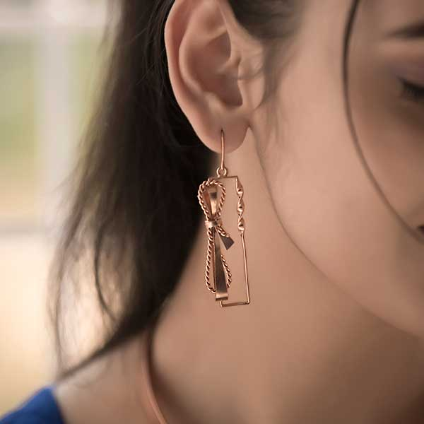 Rose-Gold Toned Rectangle Drop Earrings with Textured Bows