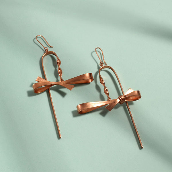 Rose-Gold Toned Cane Earrings with Bows