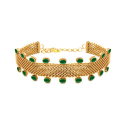 Gold Toned Mesh Choker with Green Crystals
