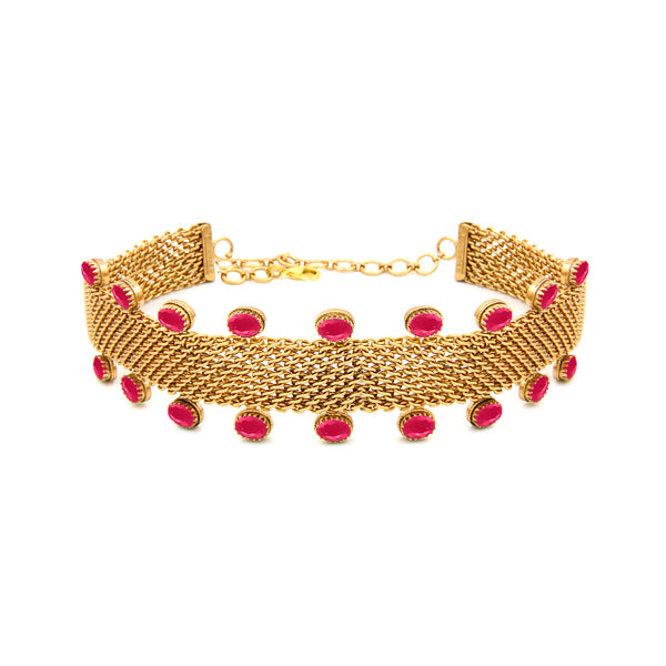 Gold Toned Mesh Choker with Pink Crystals