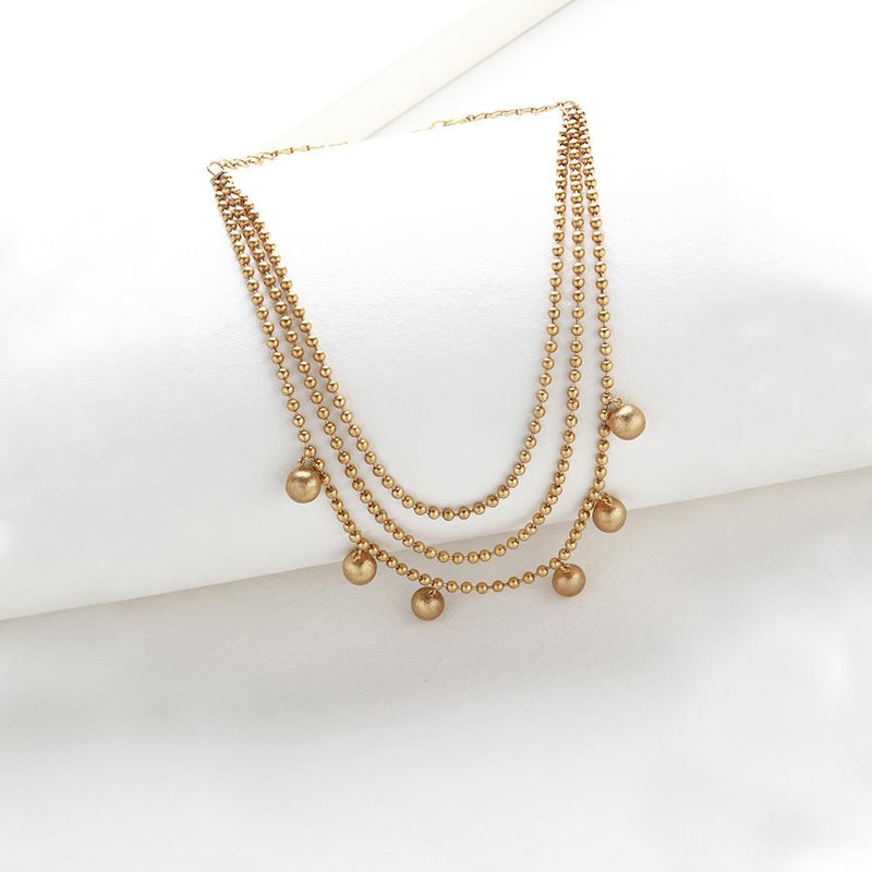Gold Toned Ball Chain Layered Necklace with Ball Pendants