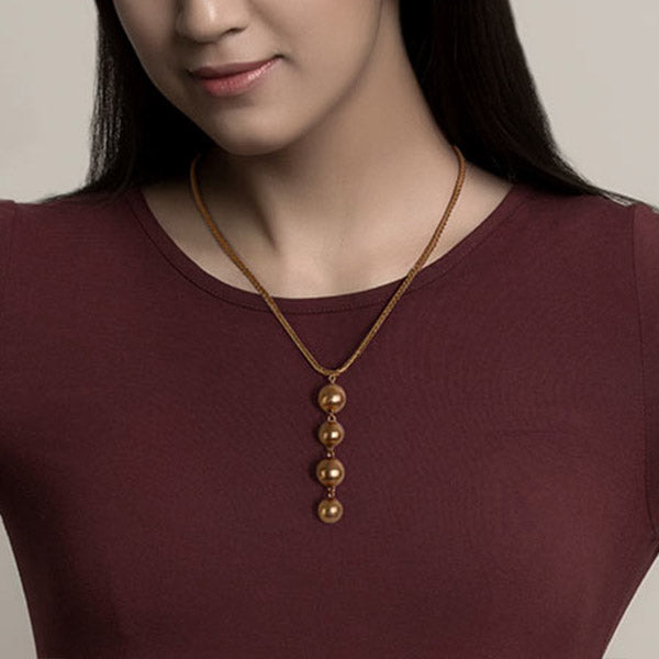 Gold Toned Necklace with Four Ball Pendant