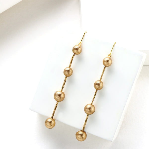 Gold Toned 'String of Beads' Drop Earrings