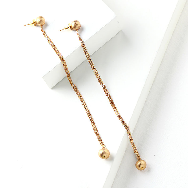 Gold Toned Long Pendulum Earrings with Ball Details