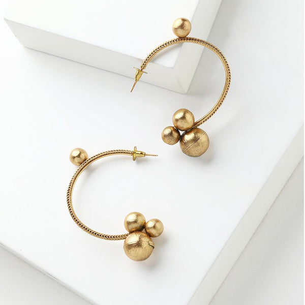 Gold Toned Half Hoop Earrings with Ball Details