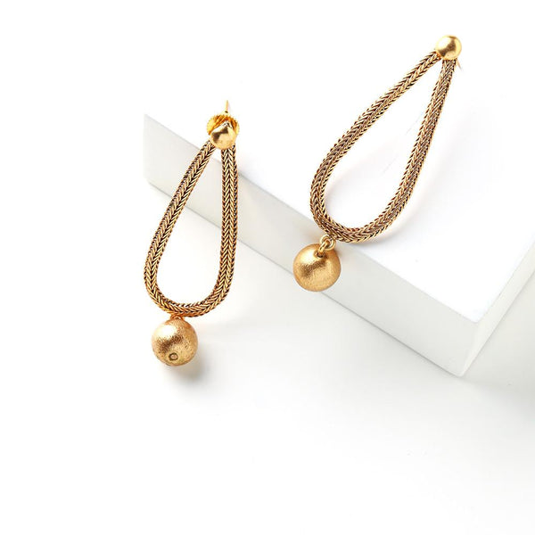 Gold Toned Chain Drop Earrings with Ball Details