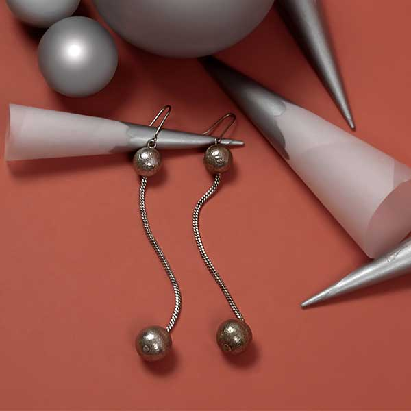 Silver Toned Pendulum Drop Earrings